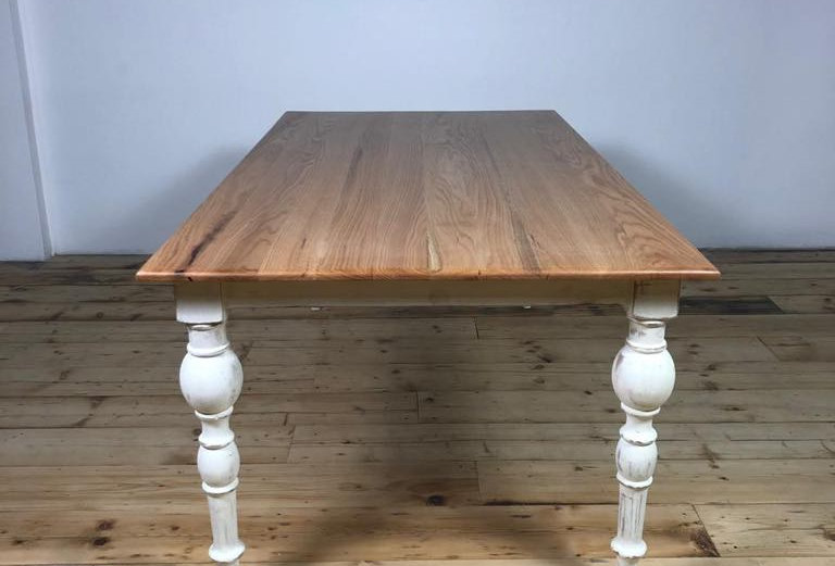 Solid Oak Turned Leg Table
