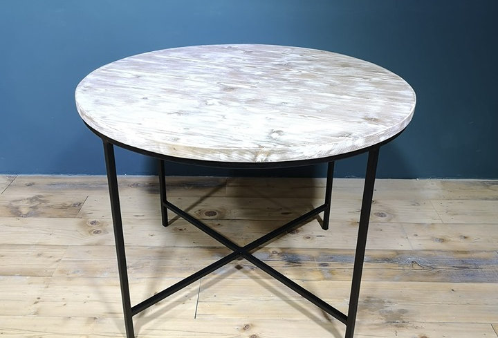 Industrial Round Table - White Washed