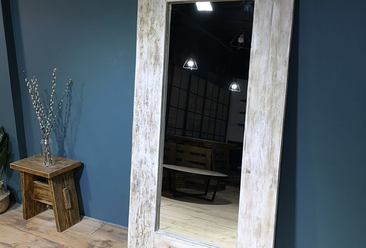Reclaimed Floor Mirror - White Washed 101