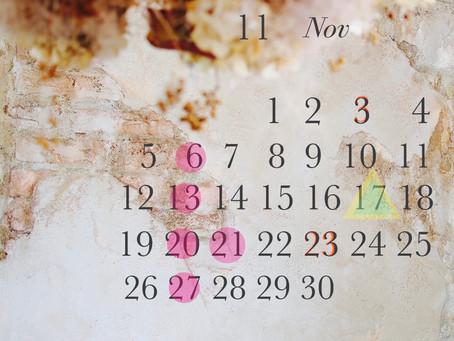 11月のお休み○◯お知らせ◯