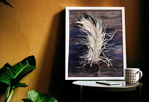 watercolor painting white feather