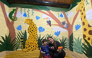 """The """"jungle"""" of Lolo & Felipe mural by Amadoodle with the assistance of her family. May 2021 in Salinas, Uruguay."""