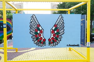 "Wings Mural by Amadoodle, winner in the ""L'art fait escale"" art contest- adult category 2020 in Canada."
