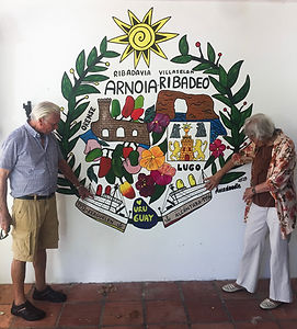 Grandparents Mural by Amadoodle telling the story of her grandparents that emigrated from Spain to Uruguay. Painted in January  2020, Uruguay.