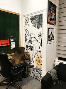 Custom mural for Latin American Student Organization from Concordia University painted by Amadoodle. December 2019 in Montreal, Canada.