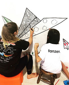 Paper Planes Mural by Amadoodle and Vito - her little cousin. January 2019 in Uruguay.
