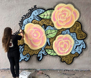 Abstract Mural by Amadoodle painted for fun in Rouen Legal Wall. July 2020 in Montreal, Canada.
