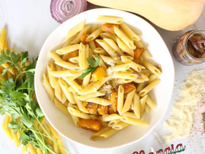 Penne with Butternut Squash, Red Onions & Anchovies