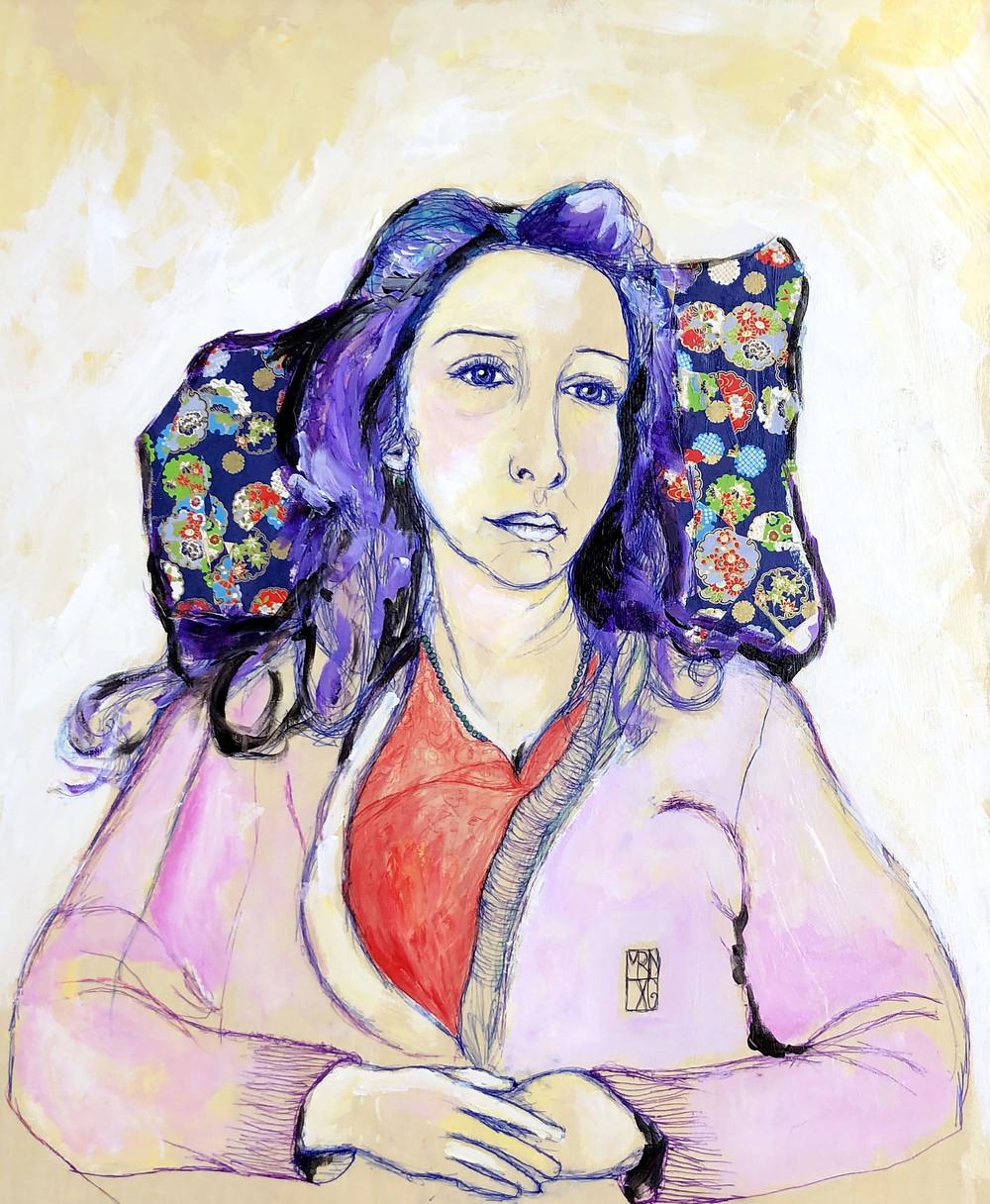 Pillow girl - 45x65cm - bic, peinture et collage sur bois - 2019
