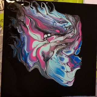 Flip cup on canvas with negative space