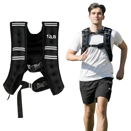 Training Adjustable Workout Weighted Vest with Mesh Bag 12 lb