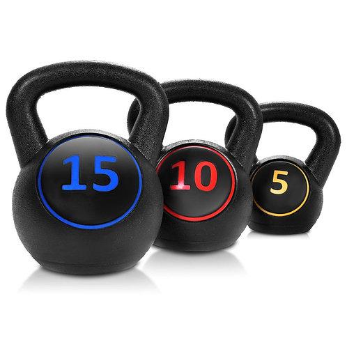 3 Pcs 5 10 15lbs Kettlebell Kettle Bell Weight Set