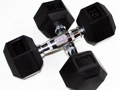 USA 6-Sided Rubber Encased Dumbbells