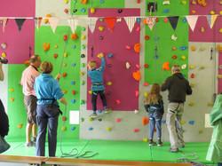 Visitors enjoying the Climbing wall