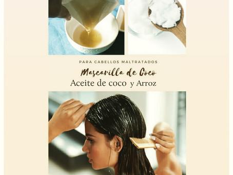 Mascarilla de aceite de coco y arroz para alisar y tratar nuestro pelo este verano