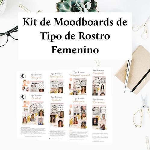 Kit de Moodboards de Tipo de Rostro Femenino