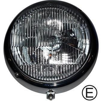 Scheinwerfer EU mit Chromring BOSCH/HELLA für VW Käfer E-Marke