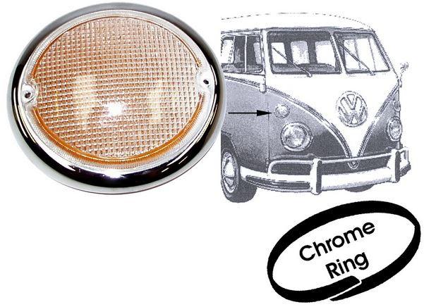 Blinkerglas Set weiß mit Chromring HELLA | VW Bus T1 1,2-1.5 BJ 1962-1967