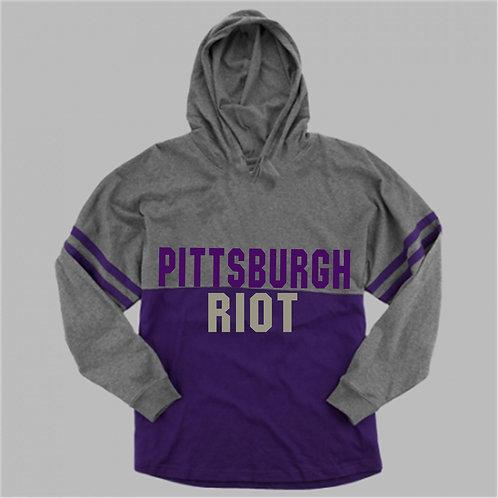 Two Tone  Long Sleeve Hooded Pom Pom Shirt - Pittsburgh Riot