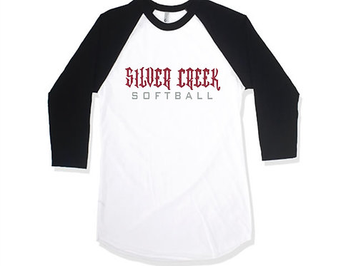 Black and White Raglan Glitter Print - Silver Creek Softball