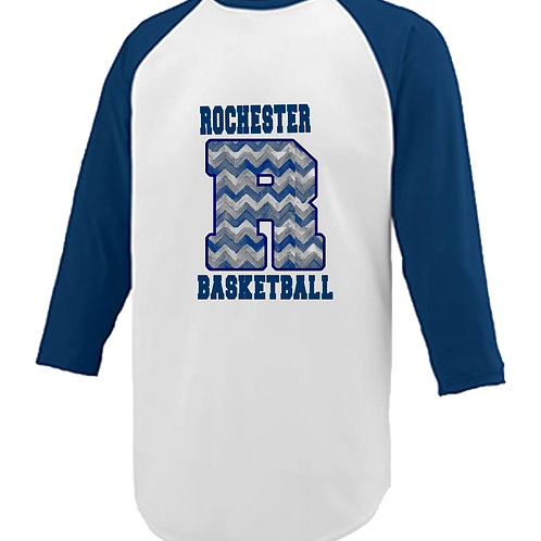 Navy and White Raglan Chevron Print - Rochester Basketball