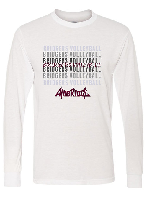 Ambridge Volleyball Fade in Logo LS Tee