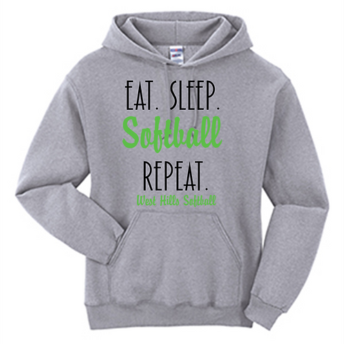 Eat Sleep Softball Repeat Hoodie - West Hills Softball