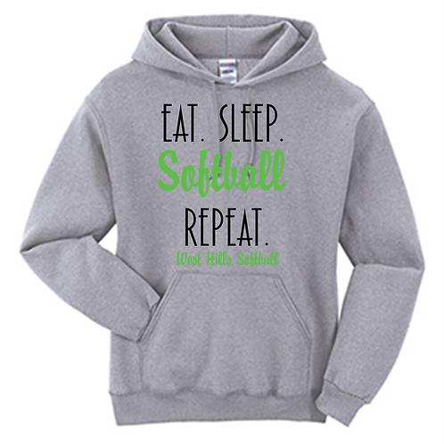 Eat Sleep Softball Repeat Hoodie - West Hills Softball