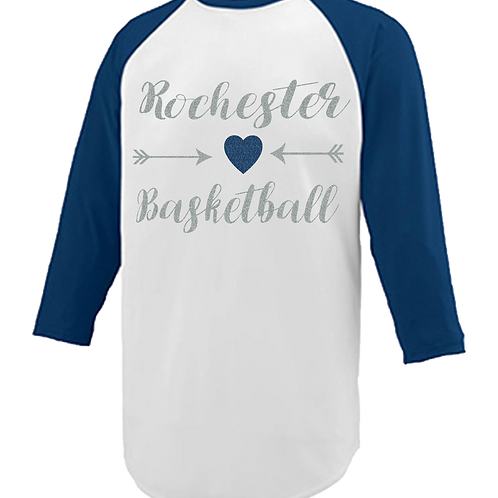 Navy and White Raglan Glitter Print - Rochester Basketball