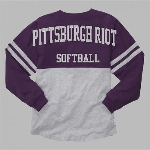 Two Tone  Long Sleeve Pom Pom Shirt - Pittsburgh Riot