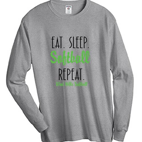 Eat Sleep Softball Repeat Long Sleeve T-Shirt - West Hills Baseball