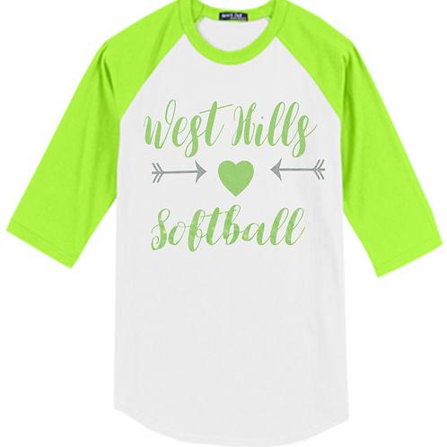 Green and White Raglan Glitter Print - West Hills Softball
