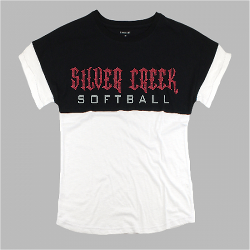 Two Tone Short Sleeve Pom Pom - Silver Creek Softball
