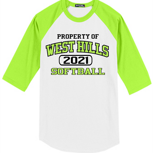 Green and White Raglan Property Of - West Hills Softball