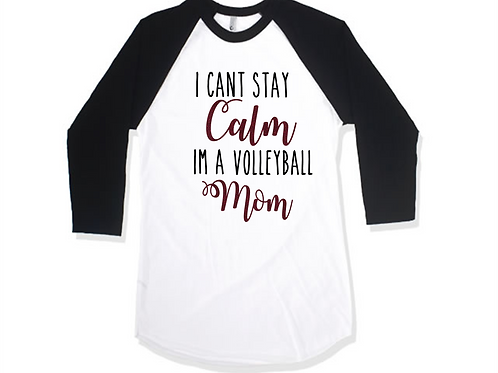 Black and White Mom Raglan - Ambridge Volleyball