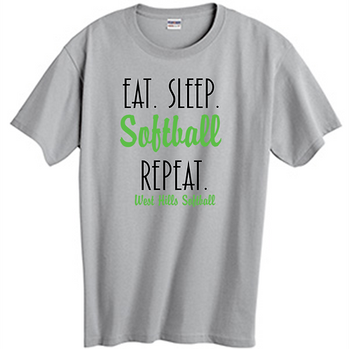 Eat Sleep Softball Repeat SS T-Shirt -  West Hills Softball