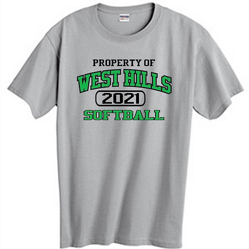 Property of West Hills Softball SS T-Shirt -  West Hills Softball