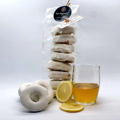 Rousquilles catalanes au miel et à l'anis glacées au citron