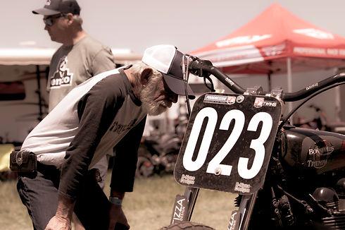 veteran onlooker at flat track event