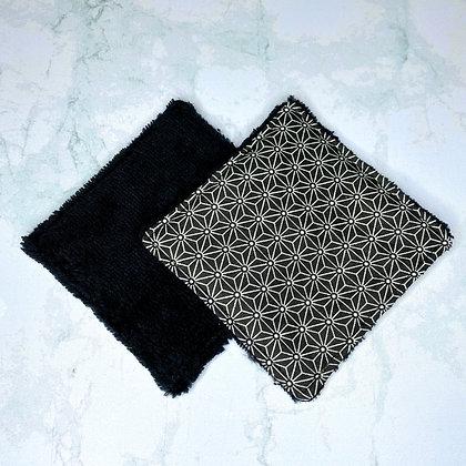 Lingettes lavables Bambou - Saki noir
