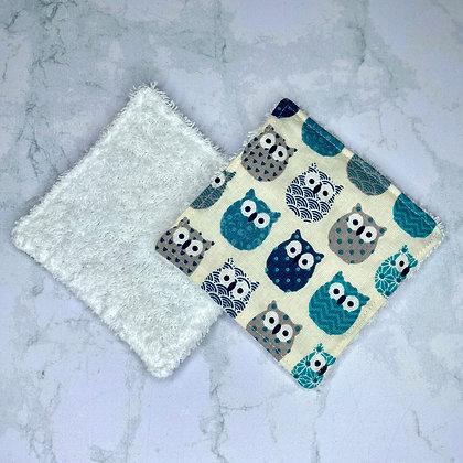 Lingettes démaquillantes lavables - Hiboux bleus