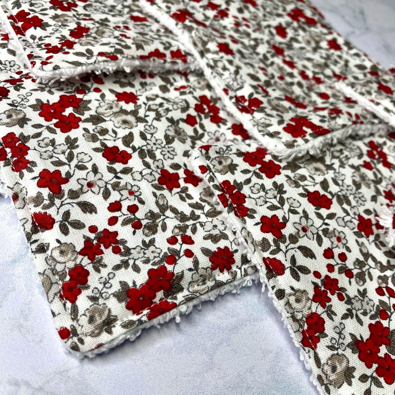 Thumbnail: Lingettes démaquillantes lavables - Fleurs rouges