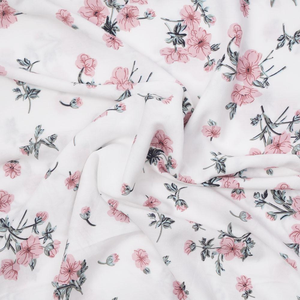 606_Viscose_Blanches à fleurs roses