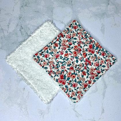 Lingettes démaquillantes lavables - Fleurs roses