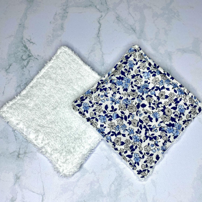 Lingettes démaquillantes lavables - Fleurs bleues