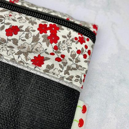 Trousse plate - Fleurs rouges