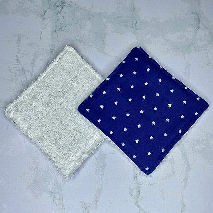 Lingettes démaquillantes lavables - Bleu étoiles