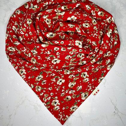Foulard - Rouge fleuri