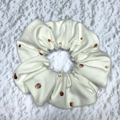 Scrunchie - Jersey White & Pink gold