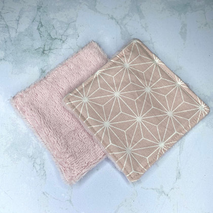 Lingettes lavables Bambou - Saki rose